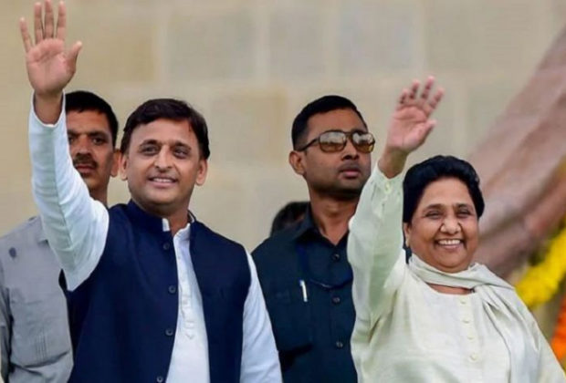Samajwadi Party chief Akhilesh Yadav with Bahujan Samaj Party supremo Mayawati.